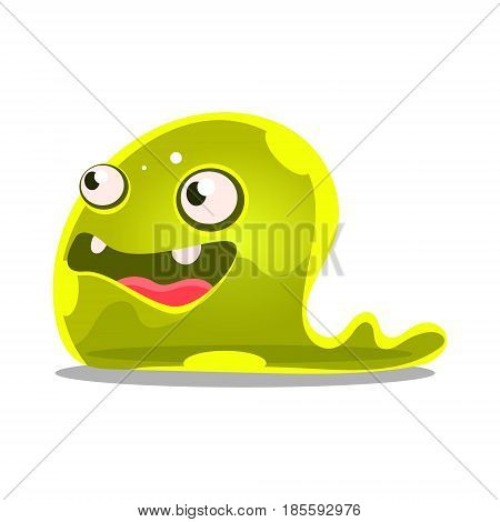 Funny cartoon green slimy monster. Cute bright jelly character vector Illustration isolated on a white background