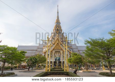 Wat Sothornworawiharn public budhism beautiful temple in Chacherngsao province of Thailand