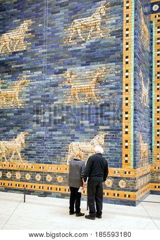 BERLIN GERMANY - APRIL 7: Ishtar gate from Babylon in Pergamon museum on April 7 2017 in Berlin