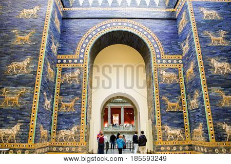 BERLIN GERMANY - APRIL 7: Ishtar gate from Babylon in Pergamon museum on April 7 2017 in Berlin