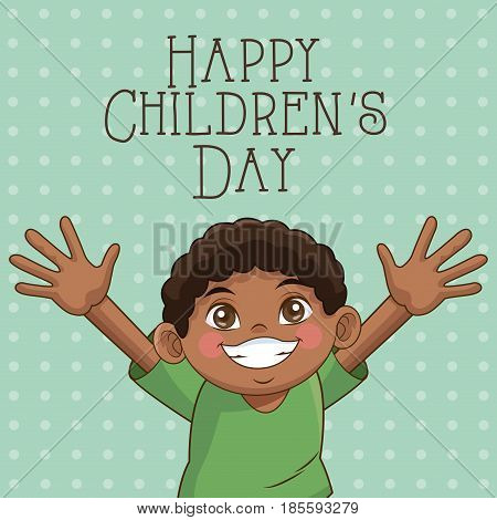 happy children day card. cute afro boy hands up celebration vector illustration