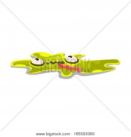 Cute cartoon slick monster. Funny bright jelly character vector Illustration isolated on a white background