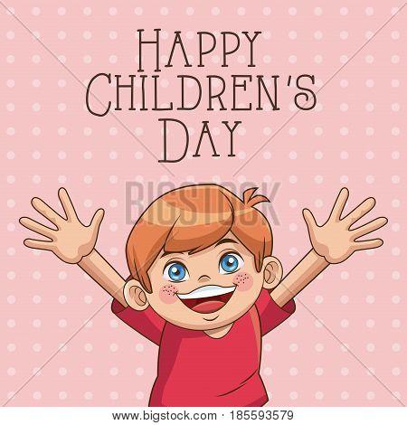 happy children day card. cute boy wearing red tshirt vector illustration