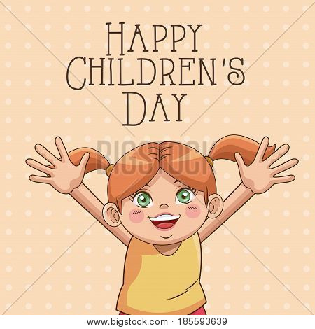 happy children day card. cute girl hair ponytails funny vector illustration
