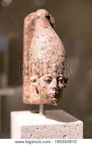 BERLIN GERMANY - APRIL 7: Head of a statue of Sesostris III in Egyptian museum on April 7 2017 in Berlin