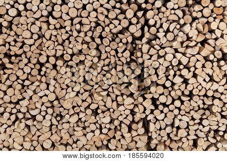 Wall Firewood , Background Of Dry Chopped Firewood Logs In A Pile