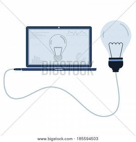 Light bulb connected to a laptop through a usb cable. Outline of the lamp bulb and graphs being shown on the computer monitor. Flat design. Isolated.