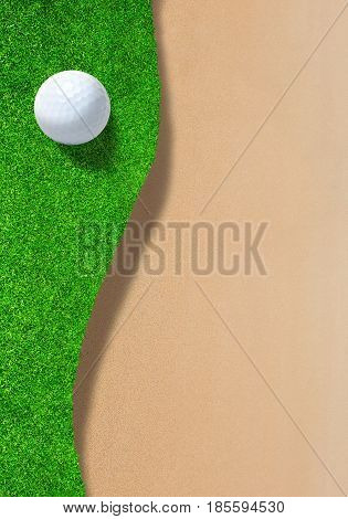 3D rendering of golf ball on edge of sand trap bunker with copy space. Vertical orientation.