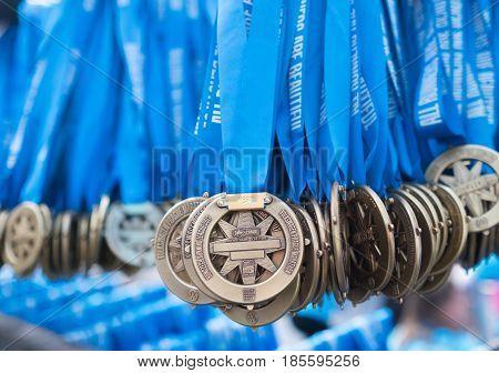 Prague, Czech Republic - May 7, 2017: Volkswagen Prague Marathon 2017 medals prepared and waiting for a runners in Prague, Czech Republic