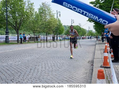 Prague, Czech Republic - May 7, 2017: Volkswagen Prague Marathon 2017 2nd place winner  WORKU BAZU finishes 42,195km distance in Prague, Czech Republic