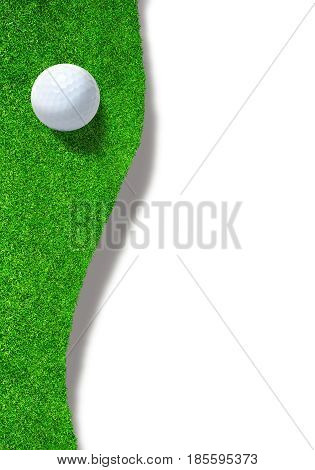 3D rendering of golf ball at the edge of sand trap bunker on white background with copy space. Vertical orientation.