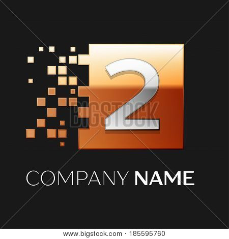 Number two vector logo symbol in the colorful square on black background. Vector template for your design