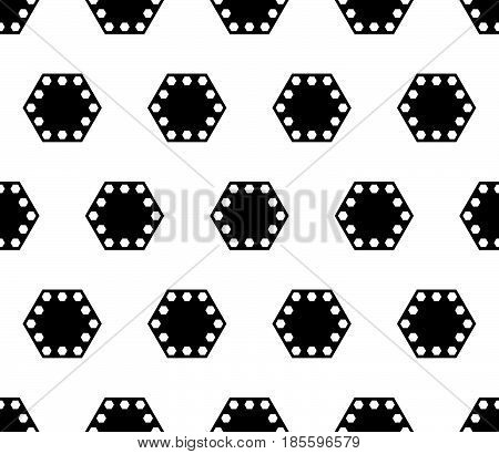 Vector geometric seamless pattern, black & white abstract background with big perforated hexagons. Geometrical monochrome texture, repeat tiles. Design for prints, decor, textile, fabric, furniture