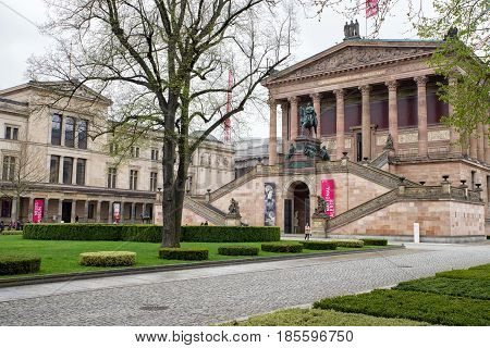 RLIN GERMANY - APRIL 7: Alte nationalgalery and Neues museum at museum island on April 7 2017 in BerlinBE