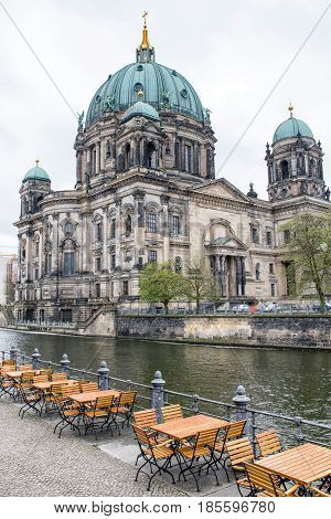 Berlin cathedral and river Spree at museum island Germany