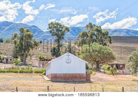 BEREAVILLE SOUTH AFRICA - MARCH 27 2017: The New Apostolic Church in Bereaville a small village near Genadendal in the Western Cape Province