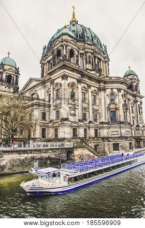 BERLIN GERMANY - APRIL 7: Berlin cathedral and river Spree on April 7 2017 in Berlin