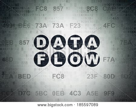 Data concept: Painted black text Data Flow on Digital Data Paper background with Hexadecimal Code