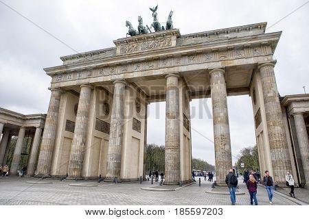 BERLIN GERMANY - APRIL 7: Brandenburger gate on April 7 2017 in Berlin