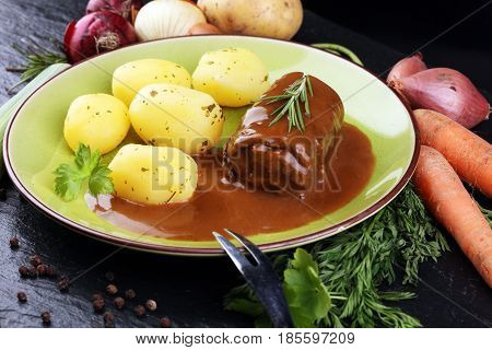 Tasty Roulades Beef On Plate With Potato, Sauce, Close Up. Beef Roll, Wrap Of Slice Of Beef