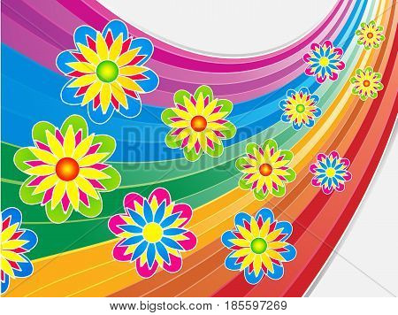 Bright Colorful Summer Flowers Over Curved Rainbow Background