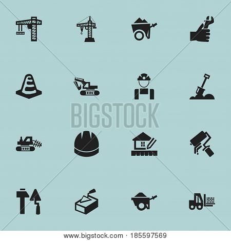 Set Of 16 Editable Construction Icons. Includes Symbols Such As Handcart , Oar , Spatula. Can Be Used For Web, Mobile, UI And Infographic Design.