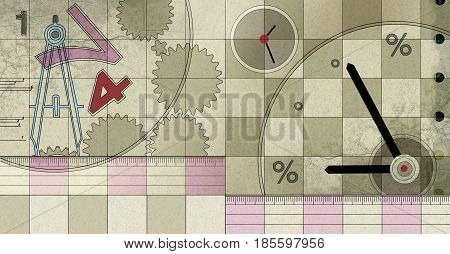 Illustration of a textural background on an audit topic: measuring instruments - rulers clocks compasses