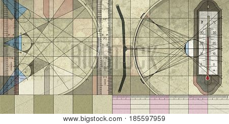 Illustration of a textural background on an audit topic: inspection measuring instruments - ruler and thermometer.