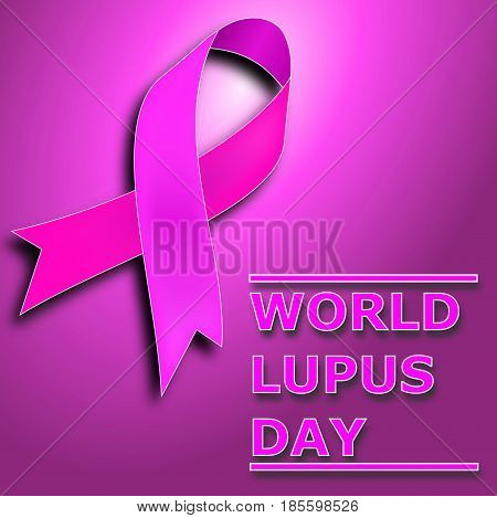 Purple Lupus awareness ribbon over a purple background. World lupus day background