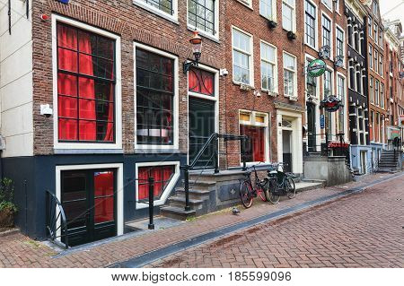 Amsterdam, Netherlands - May 2, 2017: Windows of red light disctrict Rossebuurt