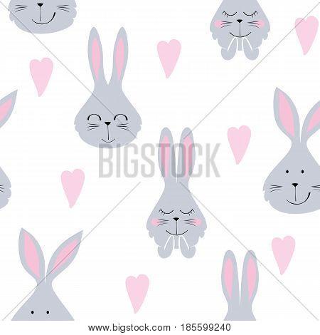 Vector seamless pattern with cartoon cute bunny