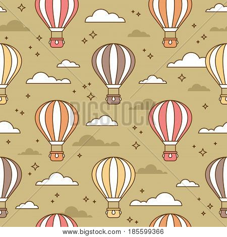 Seamless colorful pattern with air balloons flying in the sky. Cute wallpaper or background for children or kids design concept.