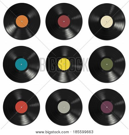Vinyl records with colorful labels on white background. Seamless pattern.