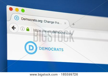LONDON UK - APRIL 15TH 2017: The homepage of the official website for the Democratic Party one of the two major political parties in the USA on 15th April 2017.