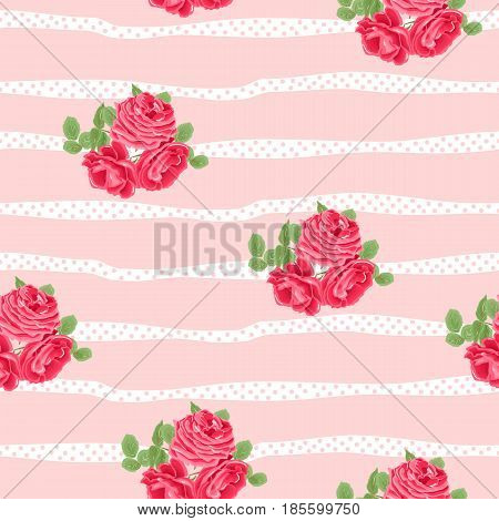 Seamless floral pattern with red roses on white background. Vector illustration.