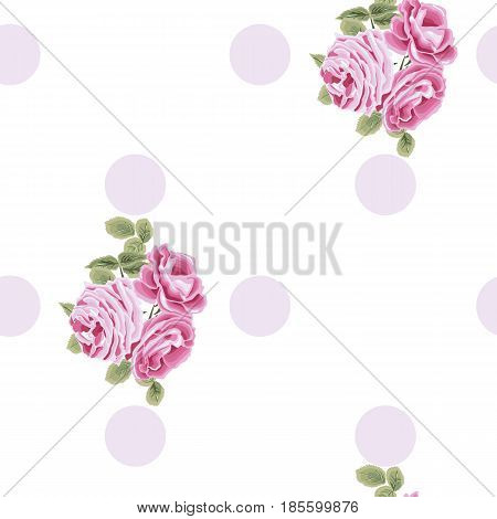 Seamless floral pattern with roses on white background. Vector illustration.
