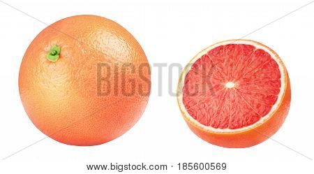Isolated grapefruit. Pink grapefruits isolated on white background, with clipping path.
