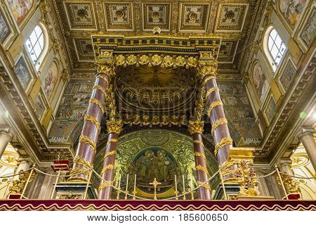 Rome Italy march 2017: Interior of the basilica of Saint Mary Major with a bottom view of the decorated altar