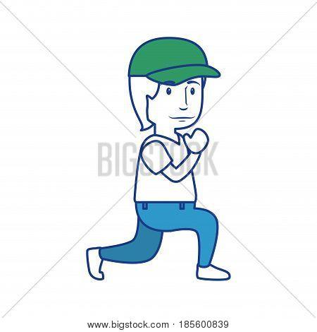 man wearing a cap, cartoon icon over white background. colorful design. vector illustraiton