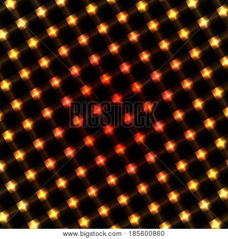 Red yellow luminous metal abstract background. Vector background.