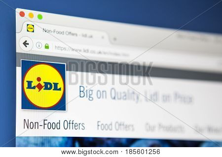LONDON UK - APRIL 20TH 2017: The homepage of the official website for Lidl the German food retail company on 20th April 2017.