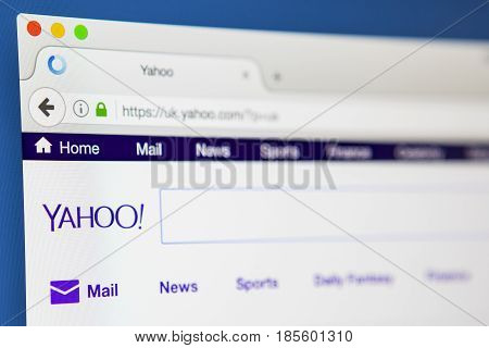 LONDON UK - APRIL 20TH 2017: The homepage of the official website for Yahoo the American multinational technology company on 20th April 2017.