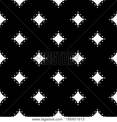 Vector monochrome texture, dotted seamless pattern, black & white geometric abstract background. Illustration with simple rounded figures, circular spots. Dark speckled backdrop. Design for decor