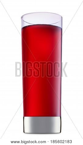 fresh fruit alcohol cocktail or mocktail in classic glass with red beverage isolated on white background