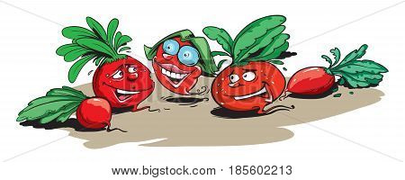 Vector illustration of smiley funny GMO radishes.