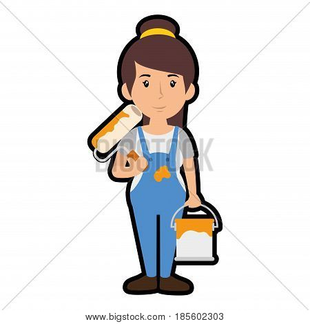 painter woman cartoon icon over white background. colorful design. vector illustration