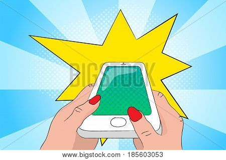 Mobile phone in hands with flash light. Smartphone pop art vector illustration. Exploding cellphone with empty screen. Touchscreen phone in woman's hands. White phone glamour retro banner template