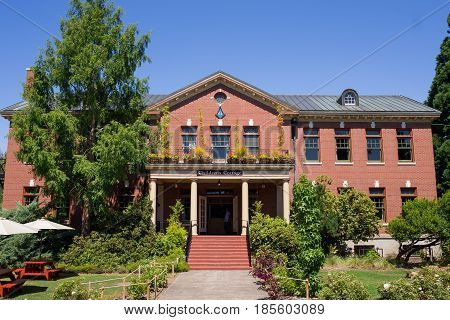 FOREST HILLS, OR - AUGUST 6, 2016: Historic McMenamins Grand Lodge Hotel near Portland Oregon.