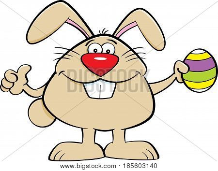 Cartoon illustration of the Easter bunny holding an Easter egg and giving thumbs up.