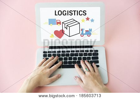 Logistics concept on a device screen